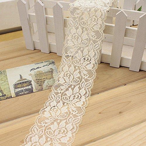 Elastisches Spitzenband, Vintage-Stil, Spitzenband, Besatz, Braut, Hochzeit, bogenförmiger Zierrand, Kleidung, Deko, DIY, Handarbeit, 100 cmx 6,5cm Free Size beige -