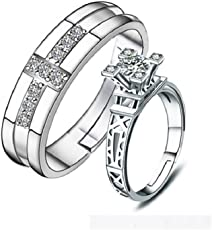 Unnati Creation Sterling Silver Plated Couple Ring for Boy & Girls