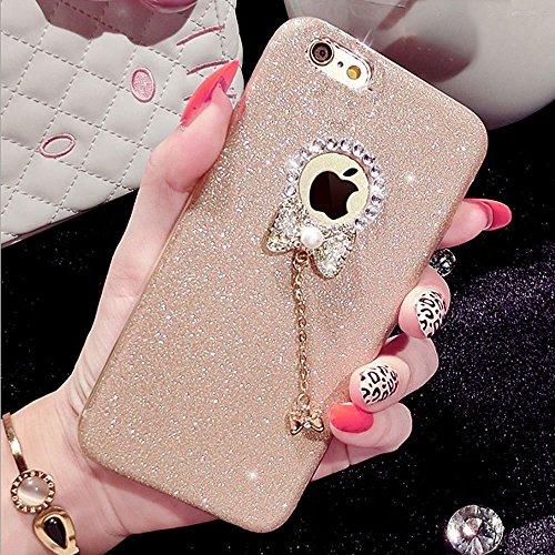 iPhone 5/5S Fall, unnfiko Beauty Luxus Diamant Glitzer Gummi Bling Soft glänzend Sparkling mit Crystal Strass Schleife Schutzhülle für iPhone 55S 5G, Gold (Bling Lifeproof Case 5s Iphone)