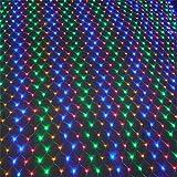 Road&Cool Rete di Luci A LED Lampada Illuminazione A Luce Natalizia, Festa di Natale All'aperto Festa in Giardino Stella della Pesca Fata della Notte, Prato Colorato Decorazione Interna (6 * 4m)