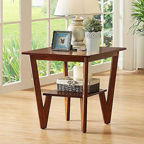 MEIDUO Étagères Table basse L58 * W58 * H58CM de table de côté de table en bois solide de table carrée très durable (Couleur : Noyer)
