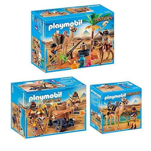 Preisvergleich Produktbild PLAYMOBIL® History 3er Set 5387 5388 5389 Grabräuber-Lager + Ägypter mit Feuerballiste + Ägyptischer Kamelkämpfer