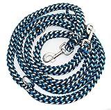 Geflochtene Hundeleine, Multileine, 4-fach verstellbar, 2,80 m lang, rund, Durchmesser 15mm, für größere und große Hunde, MADE IN GERMANY blau-schwarz-weiß