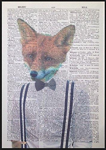 Hipster Fox tirantes lazo Vintage Diccionario producción Arte de la pared imagen Animal de impresión