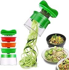 Risseen Spiralschneider Hand für Gemüsespaghetti, Edelstahl, Grün, 1,
