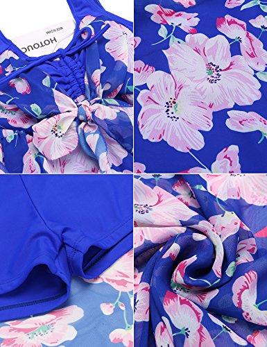 HOTOUCH -  Costume intero  - A pois - Collo a V  - Senza maniche  - Donna Typ1-Blau/Blume