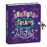 Geheimnis Tagebuch - Geheime Träume Wünsche - leuchtet im Dunkeln - 200 Seiten mit Schloss und Schlüssel - Größe 160mm x 140mm