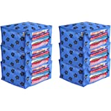 PrettyKrafts Saree Cover Set of 6 Large Flower Prints/Wardrobe Organiser/Clothes Bag_Blue
