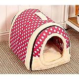 Suministros para mascotas suave y acogedor algodón cubierta al aire libre Cama portable de la casa del animal doméstico del animal doméstico mascota perrera (S: 35x30x28cm, Pink - lunar)