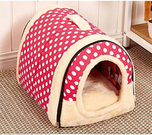 Suministros para mascotas suave y acogedor algodón cubierta al aire libre Cama portable de la casa del animal doméstico del animal doméstico mascota perrera (M: 45x35x35cm, Pink - lunar)