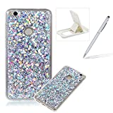 Rubber TPU Case For Huawei P8 Lite 2017,Herzzer Ultra Thin Slim Lightweight Color Changing Glittering Luxury Unique [Silver Sequins] Bling Bling Shiny Sparkle Soft Silicone Gel Clear Bumper Frame Cover for Huawei P8 Lite 2017 + 1 x Free White Cellphone Kickstand + 1 x Free Silver Stylus Pen