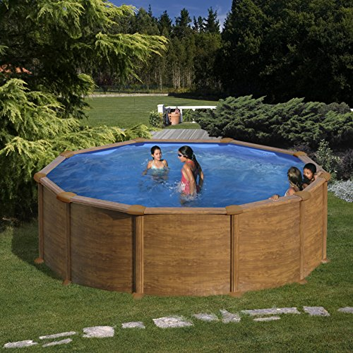 Gre KIT460W- Piscina Pacific desmontable redonda de acero decoración madera Ø460 cm