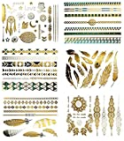 Tattoo Party Körper Make-up Temporäre Tattoos, Beauty in a flash.: 10 Boards Metallic Tattoos Gold, Silber. Flash Tattoo. über 100 verschiedene Tätowierungen, 10 Boards