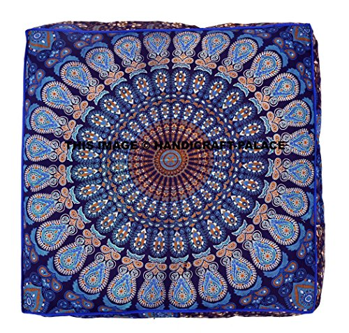 Indian Square Floor Cushion Cover Peacock Boho Mandala Ottoman Pillow Shams Pouf Cases Oversize Daybed Large Outddor Bed SOLD BY Handicraft-Palace