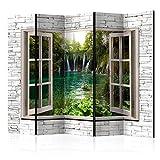 murando - Raumteiler Fensterblick Fenster Landschaft - Foto Paravent 225x172 cm - einseitig auf Vlies-Leinwand bedruckt - Blickdicht & Textile Haptik - Trennwand - Spanische Wand - Sichtschutz - Raumtrenner - Deko - Design - grau beige grün c-C-0100-z-c