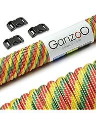 """Paracord 550 Seil Starter-Set mit 3 Klickverschlüssen (3/8"""" - 10mm) für Armband, Knüpfen von Hundeleine oder Hunde-Halsband zum selber machen / Seil mit 4mm Stärke / Mehrzweck-Seil / Survival-Seil / mit 7 Kernsträngen / Parachute Cord belastbar bis 250kg (550lbs) / reißfestes Kernmantel-Seil / inkl. 3 Klickverschlüssenaus Kunststoff (3/8"""") / Erhältlich in vielen Grün und Gelb-Tönen, Marke Ganzoo"""