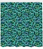ABAKUHAUS Floral Cortina de Baño, Blooms Exótico Follaje, Tela Estampa Moderna Fácil Limpieza Antimoho Colores Vibrantes, 175 x 220 cm, Jade Verde Azul Petróleo