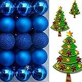 (WKG01) Weihnachtskugeln Christbaumkugeln Baumschmuck Weihnachtsbaumschmuck Deko 36er (Blau)