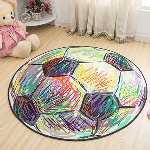 Jixing Kinder Cartoon Rutschfeste Matten Spieldecke Krabbeln Matten Runde Teppich für Kinder, Farbe fußball, Plüsch Stoffe (Plüsch-teppich-matte)