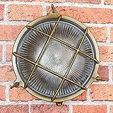 Wandlampe Außen Antik Echt-Messing Rostfrei E27 Riffelglas Käfigschirm IP64 Feuchtraumleuchte Außenleuchte Haus - 5