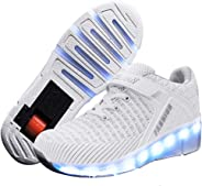 Ufatansy CPS LED Fashion Sneakers Kids Girls Boys Light Up Wheels Skate Shoes Comfortable Mesh Surface Roller Shoes Thanksgi