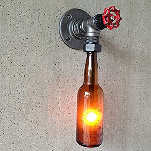 LOFT Retro Industrial Water Pipe Faucet Bouteille Single / 2 Head Wall Lamp American Creative Halloween / Festival de Noël DIYBeer Cup Bar Restaurant Aisle Wall Light ( conception : C