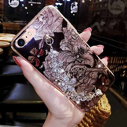 iPhone 7 / iPhone 8 Coque Strass Diamant Bling Luxe Sunroyal Coque pour iPhone 8,Rhinestone Housse Ultra Slim Cristal Brillant Téléphone Case avec 360 Degrés Rotation Bague Glitter Anneau Stand Holder Bling04