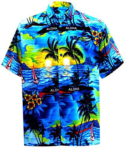 LA LEELA männer Hawaiihemd Kurzarm Button Down Kragen Fronttasche Beach Strand Hemd Manner Urlaub Casual Herren Aloha Blau_289 XS Likre 538 -