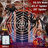 ‏‪Giant Spider Web Halloween Spider Decorations, 2 Large Hairy Spiders, Super Stretch Cobweb, Spooky Spider Webbing for Outdoor Yard Haunted House Halloween Party Decor (10.5 ft White Spider Web Set)‬‏