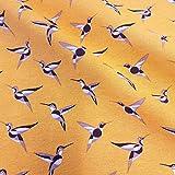 Stoff Meterware Baumwolle gelb senf Vogel Kolibrie Vorhang