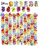 BigLion 24 Piezas Collares Hawaianos Fiesta,Collares Flores Guirnaldas Hawaianas Collar Tropical Hawaiian Hula Luau Collars Flore Guirnalda Hawaianas Flores Pelo Clips Tropicales Fiestas Decoraciones