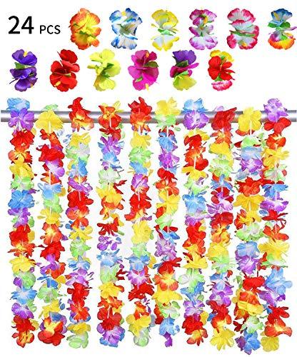 men Halskette Set,BigLion Hawaii Blumenketten Hawaiian Hula Luau Blumen Leis Girlande Halskette Hawaii Haar Blumen Hibiskus Haarspangen HaarClips Tropisch Beach Party Gefälligkeiten ()