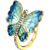 24 JOYAS Anillo Mariposa Dorada de Brillantes. Alianza de Compromiso, Boda Aniversario o Regalo romántico para Mujer