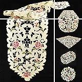 Quinnyshop Rose Fleur Broderie Ouverte Chemin de Table 30 x 70 cm Ovale Polyester, Crème