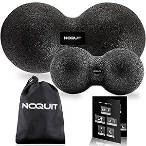 Premium Massageball – Faszienball in unterschiedlichen Härtegraden – Duoball gegen Rückenschmerzen & Nackenschmerzen mit Aussparung der Wirbelsäule – Massagerolle zur Selbst Massage in 8 cm/ 12 cm