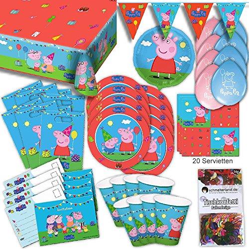 Peppa Wutz Partybox original Kindergeburtstag 64-teilig Deko Peppa Pig Partypaket