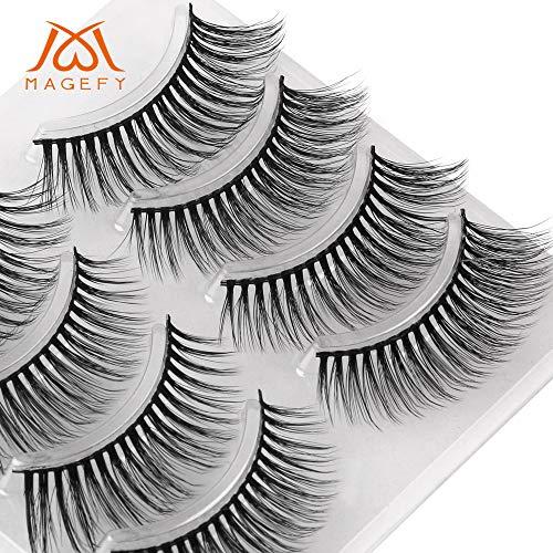 ✿Higlles Faux Cils à la Mode, 3D Fourrure Artificielle Réutilisable False Eyelashes, aspect naturel pour extension de cils de maquillage, faux cils magnétiques pour charmants yeux (Noir)