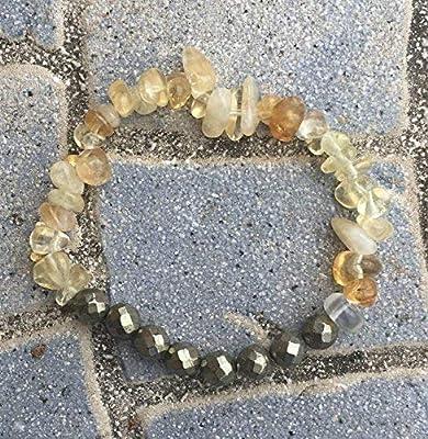 bracelet CITRINE PYRITE attire l'argent abondance chance pierre naturelle semi-précieuse