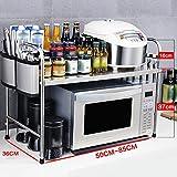 WENZHE Lagerregale Küche Küchenregal Mikrowellenherd Rack Rostfreier Stahl 2 Größen, 3 Typen Verfügbar (Farbe : Kni