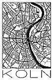 Artland Qualitätsbilder I Wandbilder Selbstklebende Wandfolie Städte Deutschland Köln Digitale Kunst Schwarz/Weiß E2ON Retro Karte Köln Deutschland Schwarz & Weiß