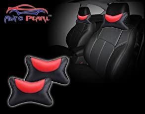 Auto Pearl Neck_Cushion_Black&Red Neck Rest Cushion for All Cars (Pack of 2, Red and Black)