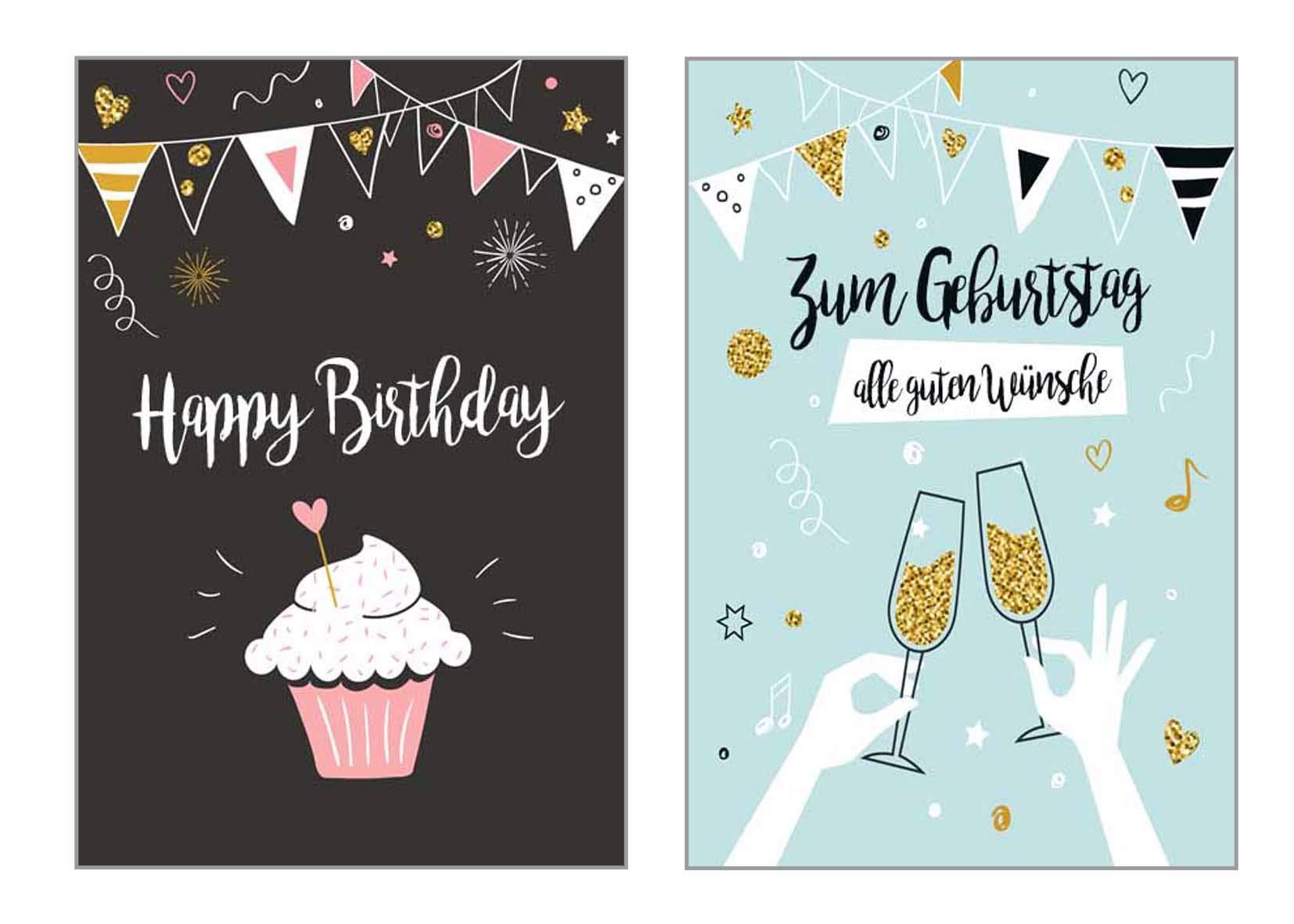 Happy Birthday Karte Für Frauen.Set 6 Exklusive Geburtstagskarten Mit Glimmerveredelung Und Umschlag Glückwunschkarte Grusskarte Zum Geburtstag Geburtstagskarte Karte Mann Frau