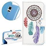ISAKEN Galaxy S5 Mini Hülle, PU Leder Brieftasche Geldbörse Ledertasche Handyhülle Tasche Case Schutzhülle mit Standfunktion Karte Halter für Samsung Galaxy S5 Mini - Feder Ornament