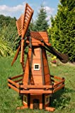 Deko-Shop-Hannusch Moulin à vent décoratif type moulin hollandais en bois enduit et à roulement à billes 1,2 m