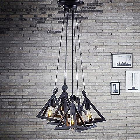 BJVB Retro triángulos 6 cabeza de la industria ligera jaula lámpara