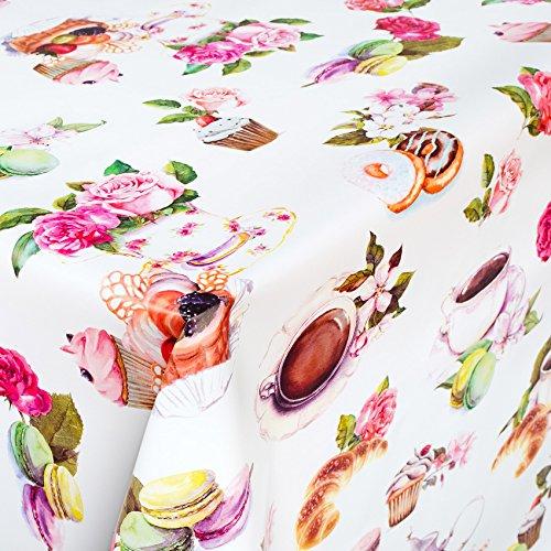 ANRO Wachstuch Wachstischdecke Wachstuchtischdecke abwaschbare Tischdecke Tee Tassen Kekse Donuts Rosen 140 x 140cm - Bügel-tee