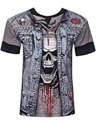 Spiral t-shirt pour homme motif tête de mort-thrash metal all over-print)