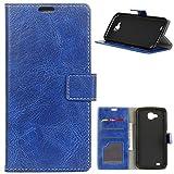 KM-WEN® Schutzhülle für LG X Power 2/II M320N (5,5 Zoll) Bookstyle Retro Stil Crazy Horse Muster Magnetverschluss PU Leder Wallet Case Flip Cover Hülle Tasche Schutzhülle mit Standfunktion Kartenfächer für LG X Power 2/II M320N (5,5 Zoll) Blau