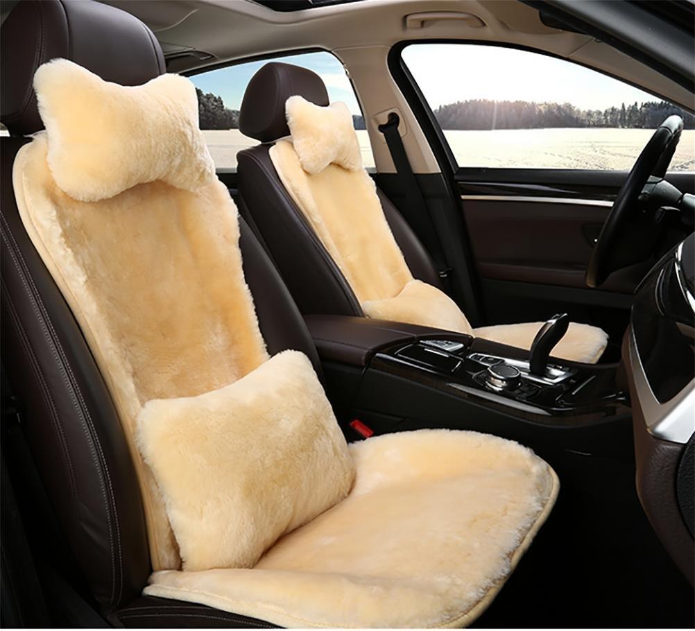 RUIRUI Coprisedili invernale caldo lana Peluche caldo corto Copertura sedile auto , Beige