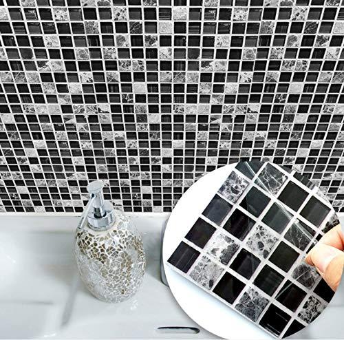 Schöne Marmor-mosaik-stein (Zlywj Selbstklebende wasserdichte Grau Und Weiß Marmor Mosaik Wandkunst Küchenmöbel Fliesen Aufkleber Wandtattoo 15 * 15 cm 10 Stücke Pro Packung)